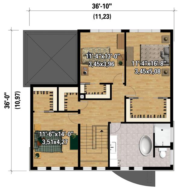 Contemporary Floor Plan - Upper Floor Plan Plan #25-4528