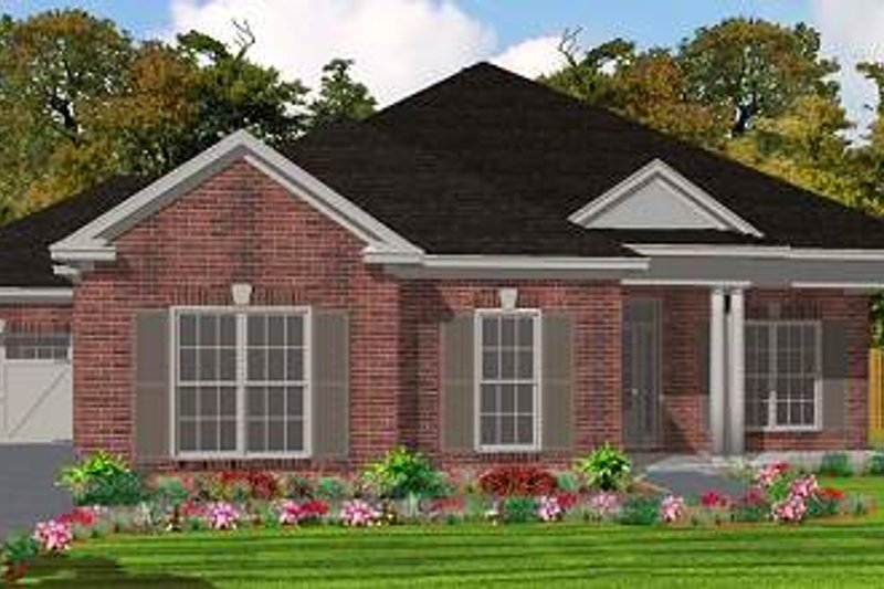 Traditional Style House Plan - 3 Beds 2 Baths 2025 Sq/Ft Plan #63-142 Exterior - Front Elevation