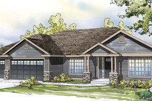 Ranch Exterior - Front Elevation Plan #124-872
