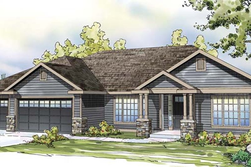 Ranch Style House Plan - 3 Beds 2.5 Baths 2668 Sq/Ft Plan #124-872 Exterior - Front Elevation