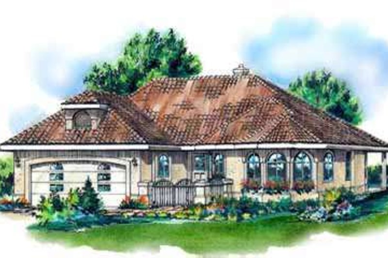 European Style House Plan - 2 Beds 2 Baths 1580 Sq/Ft Plan #18-339 Exterior - Front Elevation