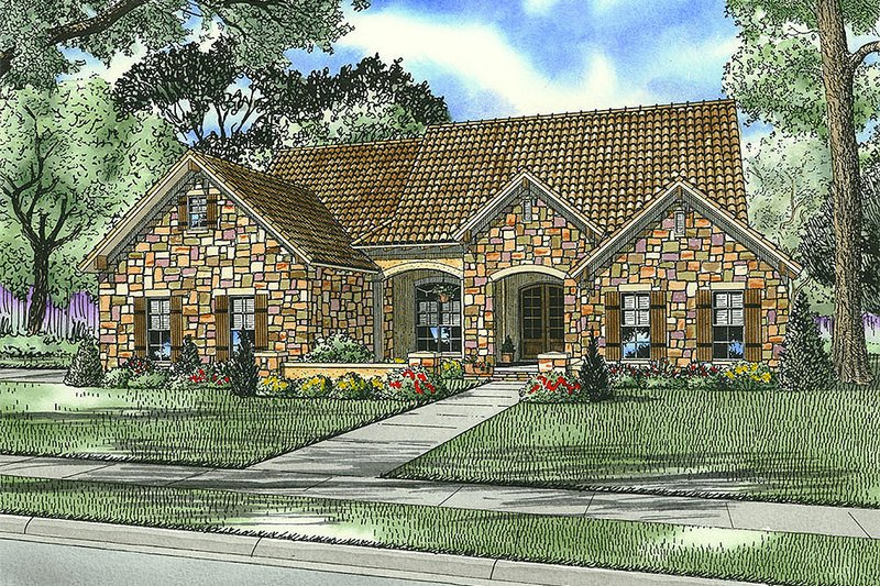European Style House Plan - 4 Beds 2 Baths 2135 Sq/Ft Plan #17-156 Exterior - Front Elevation