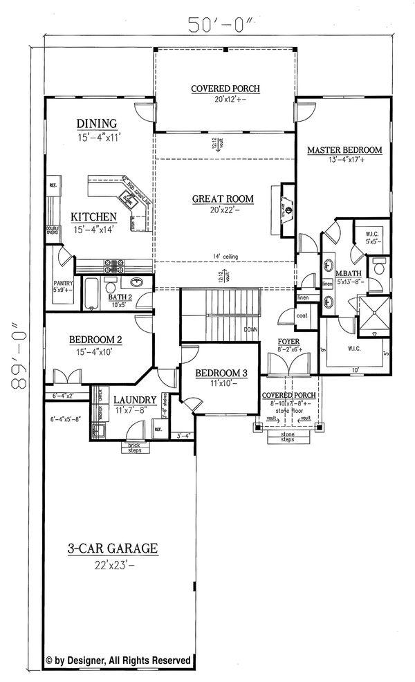 Architectural House Design - Ranch Floor Plan - Main Floor Plan #437-82