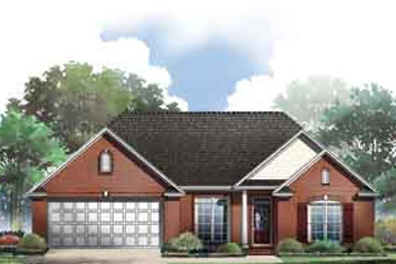 Traditional Style House Plan - 3 Beds 2 Baths 1606 Sq/Ft Plan #21-158 Exterior - Front Elevation