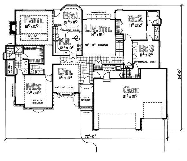 Traditional Floor Plan - Main Floor Plan Plan #20-735