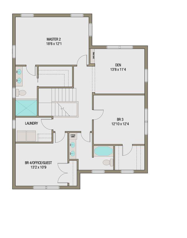 Craftsman Style House Plan - 5 Beds 3.5 Baths 2632 Sq/Ft Plan #461-45 Floor Plan - Upper Floor Plan