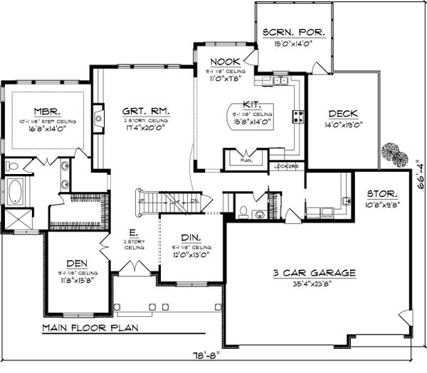 Craftsman Floor Plan - Main Floor Plan Plan #70-1065