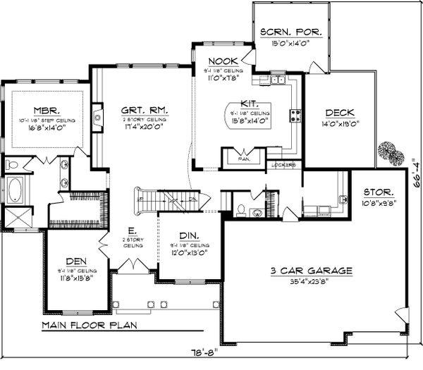 Dream House Plan - Craftsman Floor Plan - Main Floor Plan #70-1065