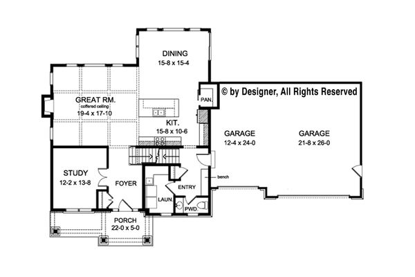 Colonial Floor Plan - Main Floor Plan Plan #1010-216