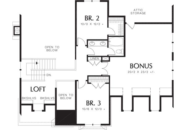 European Floor Plan - Upper Floor Plan Plan #48-459
