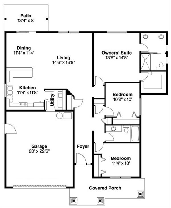Craftsman Floor Plan - Main Floor Plan Plan #124-776