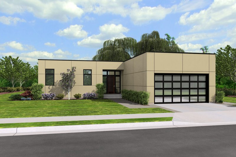 Contemporary Style House Plan - 2 Beds 2 Baths 1766 Sq/Ft Plan #48-667 Exterior - Front Elevation