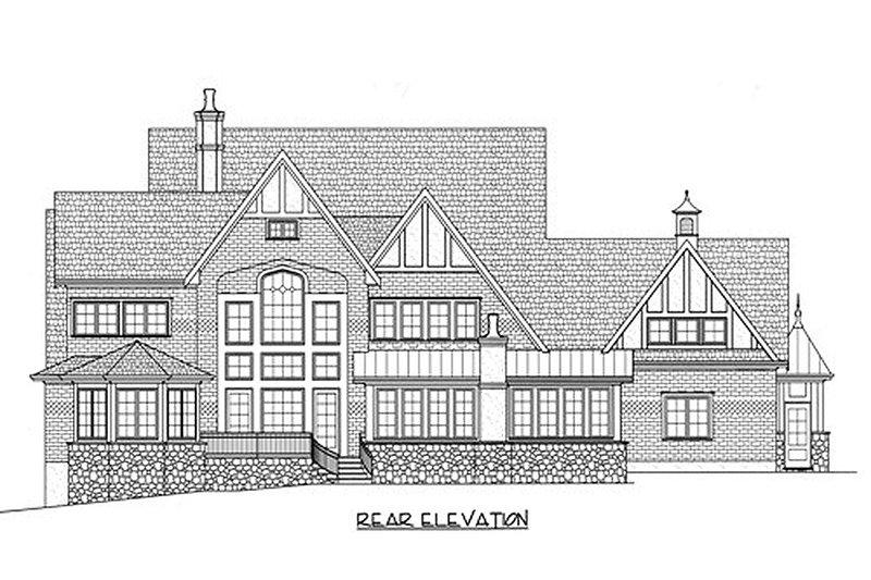 Tudor Exterior - Rear Elevation Plan #413-124 - Houseplans.com