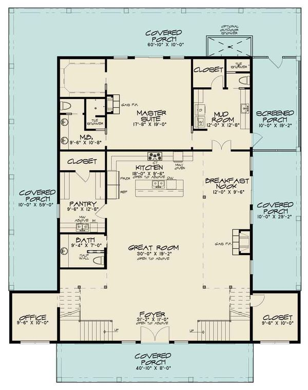 Country Floor Plan - Main Floor Plan Plan #17-2599