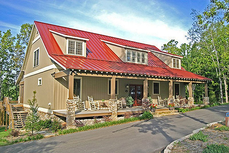 House Design - Country designed home, front porch, elevation photo