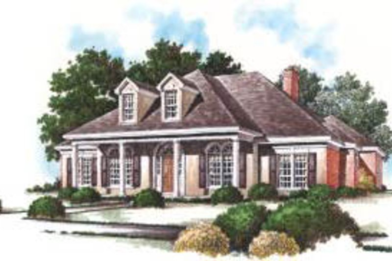 Southern Exterior - Front Elevation Plan #37-202