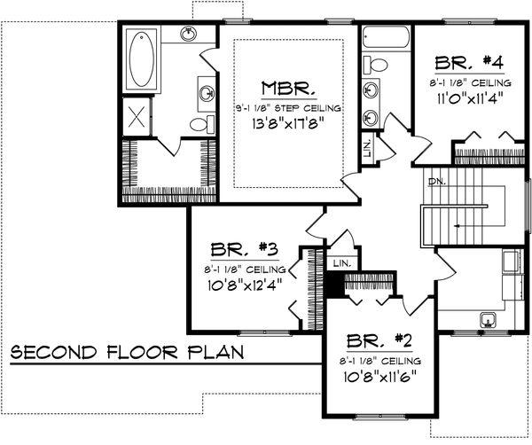 European Floor Plan - Upper Floor Plan Plan #70-1100