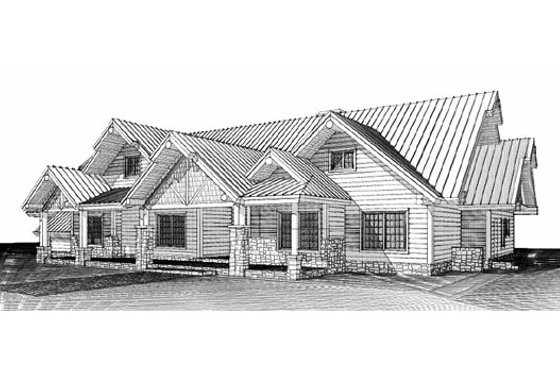 Log Exterior - Front Elevation Plan #451-4