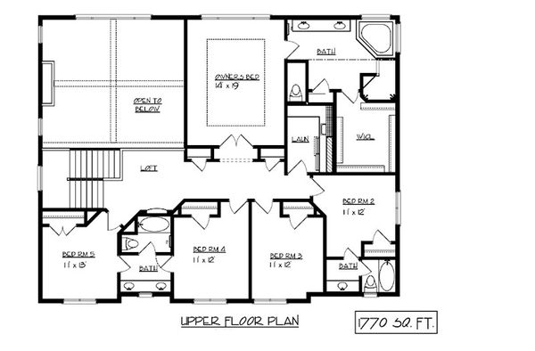 Craftsman Floor Plan - Upper Floor Plan Plan #320-493