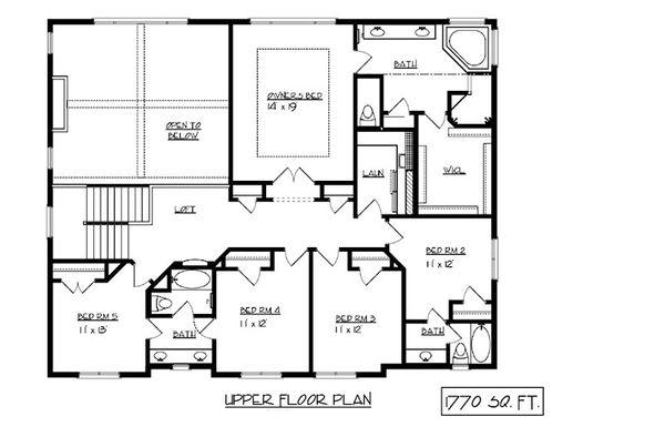 Craftsman Floor Plan - Upper Floor Plan Plan #320-493