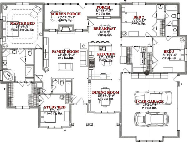 Southern Floor Plan - Main Floor Plan Plan #63-349