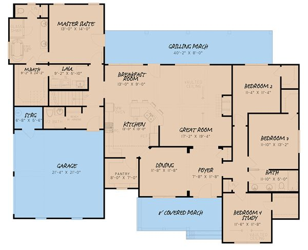 Architectural House Design - Farmhouse Floor Plan - Main Floor Plan #923-157