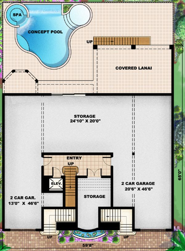 Mediterranean Floor Plan - Lower Floor Plan Plan #27-432