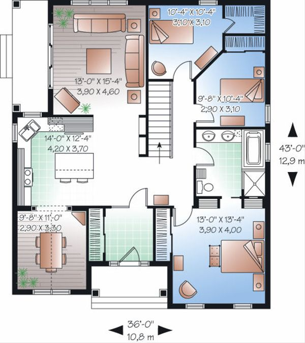 Traditional Floor Plan - Main Floor Plan Plan #23-781