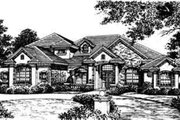 European Style House Plan - 4 Beds 4.5 Baths 4463 Sq/Ft Plan #135-115 Exterior - Front Elevation