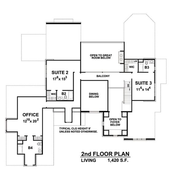 European Floor Plan - Upper Floor Plan Plan #20-2203