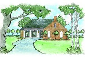 Cottage Exterior - Front Elevation Plan #36-309