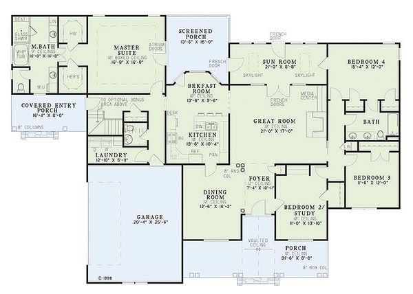 Traditional Floor Plan - Main Floor Plan Plan #17-1020