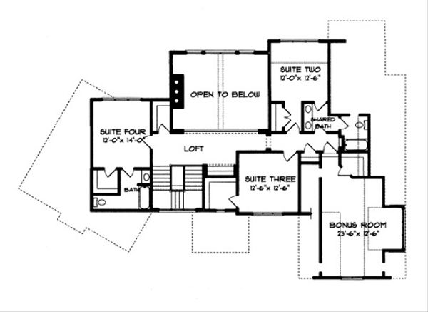 Tudor Floor Plan - Upper Floor Plan Plan #413-114