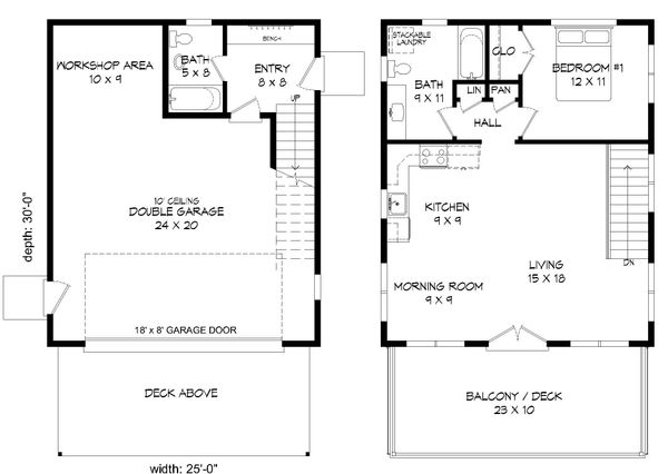 Contemporary Floor Plan - Main Floor Plan Plan #932-69