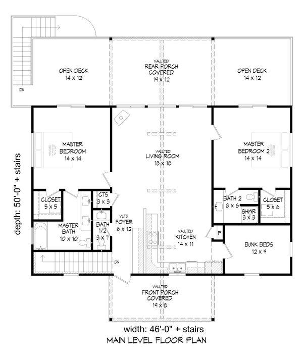 Cabin Floor Plan - Main Floor Plan Plan #932-57