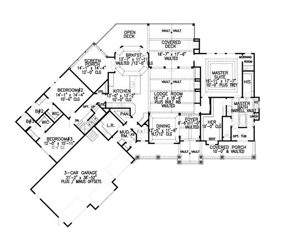 Dream House Plan - Craftsman Floor Plan - Main Floor Plan #54-398