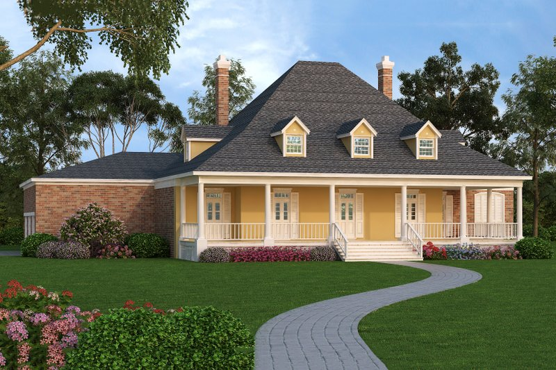 Home Plan - Front View - 4000 square foot European home