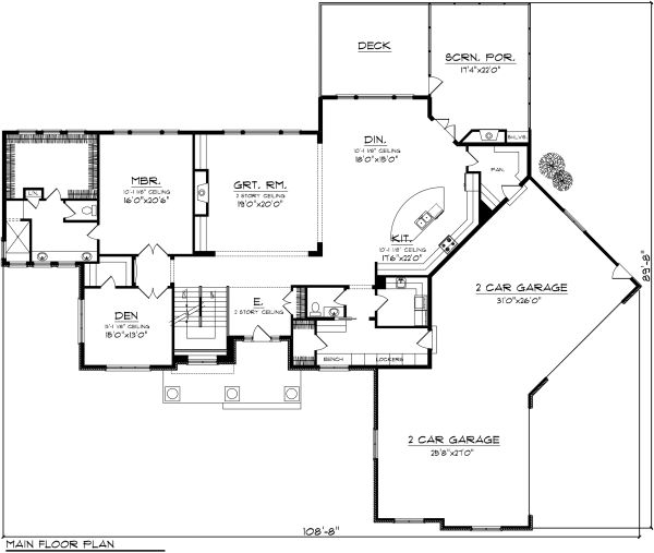 Traditional Floor Plan - Main Floor Plan Plan #70-1147