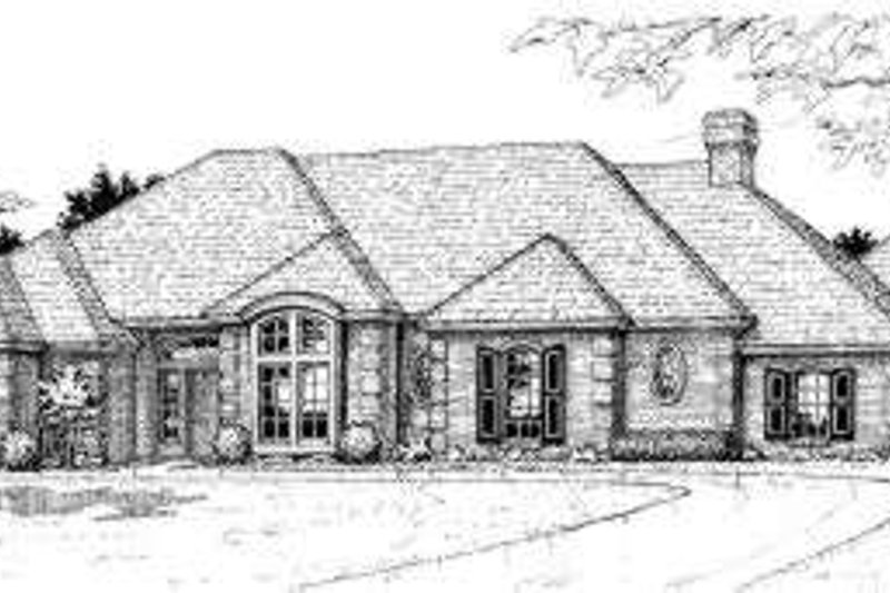 European Style House Plan - 3 Beds 3 Baths 2615 Sq/Ft Plan #310-128 Exterior - Front Elevation