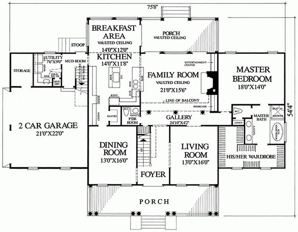 Southern Floor Plan - Main Floor Plan Plan #137-152