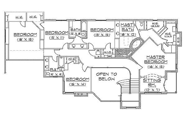 Traditional Floor Plan - Upper Floor Plan Plan #5-226
