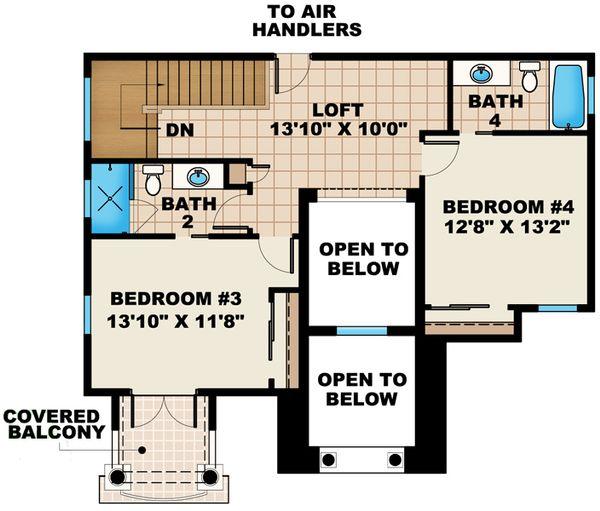 Mediterranean Floor Plan - Upper Floor Plan Plan #27-445