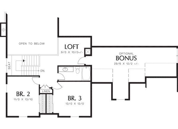 Craftsman Floor Plan - Upper Floor Plan Plan #48-379