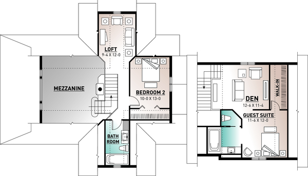 Traditional Floor Plan - Upper Floor Plan Plan #23-422