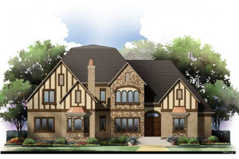 European Exterior - Front Elevation Plan #119-351