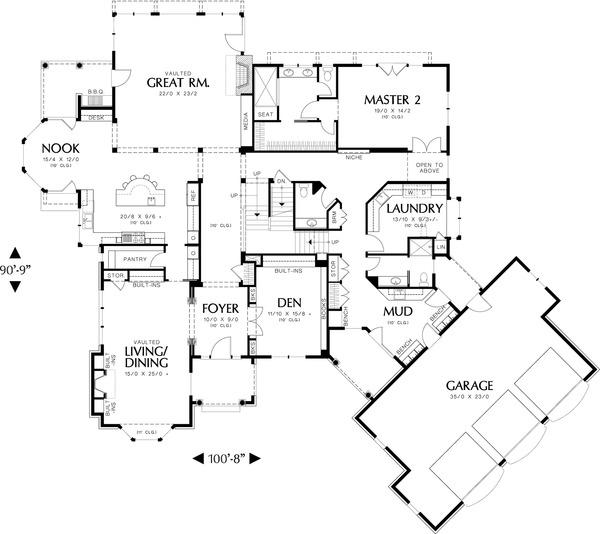 Main Level Floor plan - 6000 square foot European home