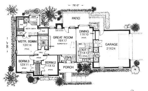 Ranch Floor Plan - Main Floor Plan Plan #310-602