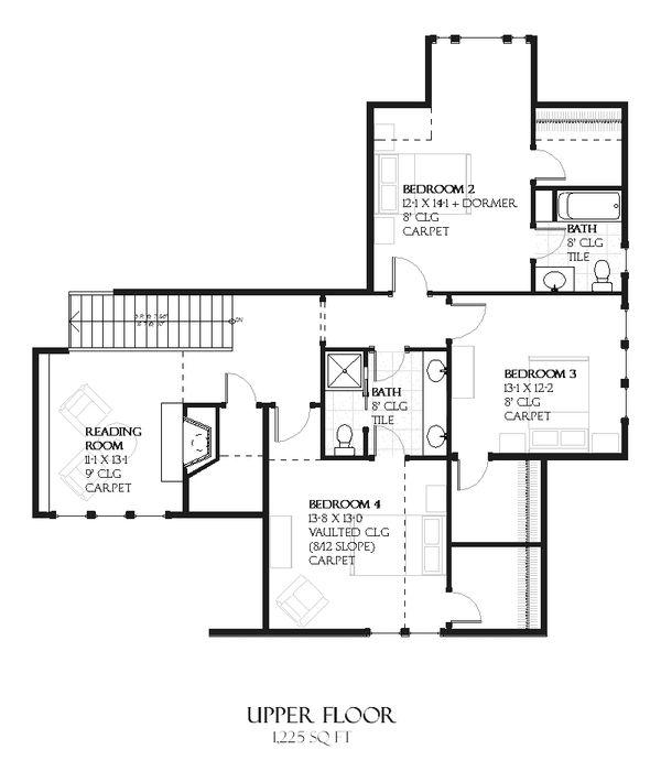 European Floor Plan - Upper Floor Plan Plan #901-102