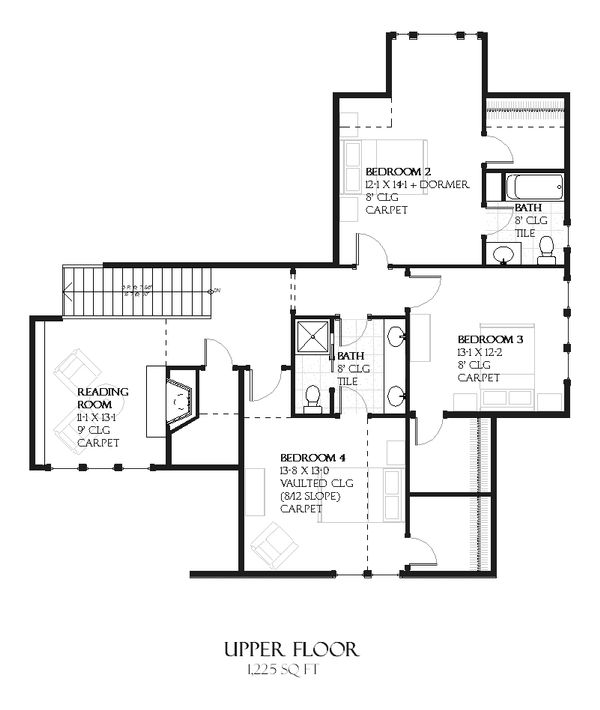 European Floor Plan - Upper Floor Plan #901-102