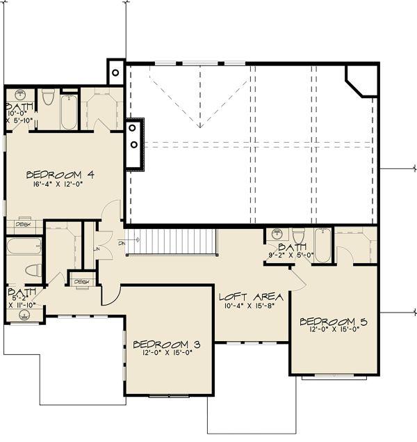 Craftsman Floor Plan - Upper Floor Plan #17-3423